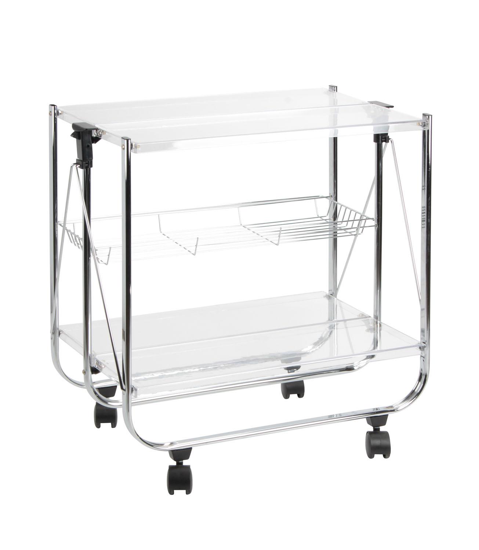 carrello pieghevole metallo cromato e plexiglass home decor sheratonn