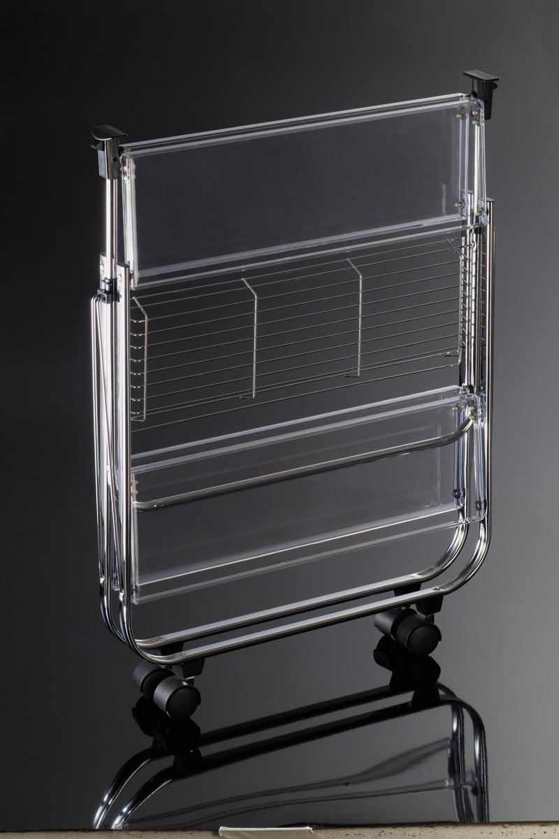Carrello pieghevole metallo cromato e plexiglass home for Carrello porta ombrellone e sdraio