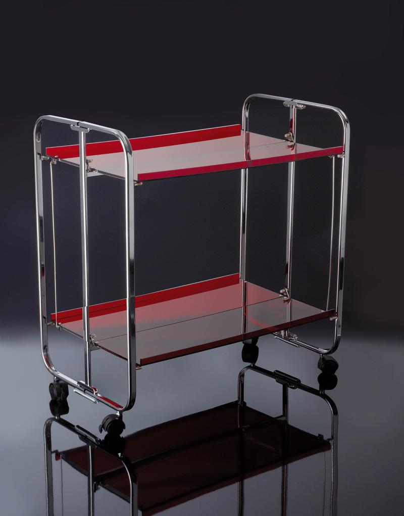 Carrello mensola pieghevole | Metallo cromato e Plexiglass | Home ...